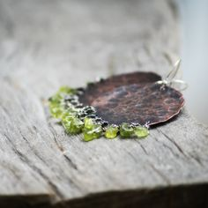 Rustic Dark Copper and Natural Raw Peridot Earrings//Rustic Earthy// Boho Natural Earrings// Dark Copper and Green Earrings Peridot Earrings, Green Earrings, Black Goldfish, Druzy Ring, Earthy, Copper, Rustic, Boho, Dark