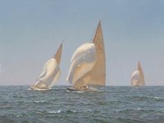 Eight Meter Class By Laura Cooper, Oil, 12 x 16 Local Artists, Sailing Ships, Detail, Gallery, Artwork, Oil, Work Of Art, Auguste Rodin Artwork, Tall Ships