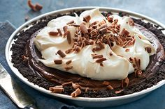 Double Chocolate Pie—Double the chocolate, double the deliciousness. This easy no-bake pie is worth indulging in second helpings (maybe more). Chocolate Mousse Pie, Chocolate Pie Recipes, Chocolate Wafers, Chocolate Shavings, Chocolate Pies, Chocolate Pudding, No Bake Desserts, Just Desserts, Cake Recipes