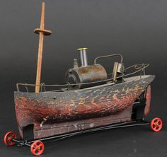 rare Ernest Plank Boiler with wooden hull ,not sure if made this way from Factory or later engine/boiler added to wood hull ,in any case an very interesting boat. Antique Toys, Vintage Toys, Live Steam Locomotive, Steam Toys, Old Boats, Farm Toys, Best Abs, New Dolls, Tin Toys