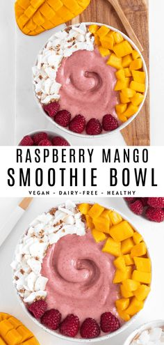 This raspberry mango smoothie bowl is healthy, easy, and refreshing! It's a vegan breakfast smoothie made with 5 ingredients including mango, raspberries, banana, almond milk, and hemp seeds. Enjoy it with toppings and a spoon! #smoothiebowl #raspberrysmoothie #mangosmoothie #berrysmoothie #vegansmoothie #veganbreakfast #smoothie Vegan Breakfast Smoothie, Vegan Smoothie Recipes, Healthy Vegan Breakfast, Raw Vegan Recipes, Healthy Smoothies, Healthy Snacks, Raw Vegan Smoothie, Juicer Recipes, Healthy Breakfasts
