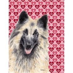 Belgian Tervuren Hearts Love and Valentine's Day Portrait Flag