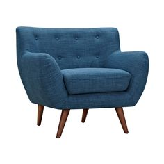 You'll get even more than you bargained for with this Olson Armchair in Blue. With a classic mid-century design and upward sloping arms, you'll get comfort and style from this piece. With plush cushion...  Find the Olson Armchair in Blue, as seen in the Check Into The Hotel Lincoln Collection at http://dotandbo.com/collections/check-into-the-hotel-lincoln?utm_source=pinterest&utm_medium=organic&db_sku=109509