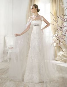 Wrap Detachable Empire Weddding Dresses Strapless Lace With Beads Crystal With Applique Sweep Train Sleevless Zipper Birdal Party Gowns Wedding Dress Organza, Wedding Dresses 2014, Wedding Gowns, Bridal Gowns, Classic Bridesmaids Dresses, Bridesmaid Dresses, Prom Dresses, Luxe Wedding, Wedding Bride