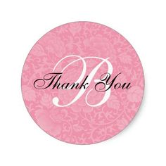 Pink Brocade Wedding Thank You Round Sticker