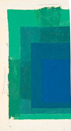 "Josef Albers - Color Study for Homage to the Square, n.d. Oil on blotting paper. 33,3 x 18,4 cm (13.1"" x 7.2""). via galerie mARTin"