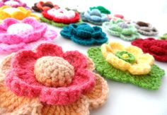 Crochet+Applique+++Multicolored+Flowers+++Any+by+CraftsbySigita,+$5.00