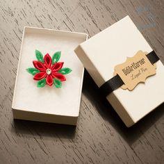 Rojo y verde Poinsettia Kanzashi inspirado flor por DidiArtCorner