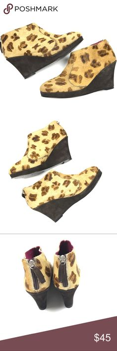 "Boden Suede Leopard Wedge Ankle Boots Size Boden Suede & Leather Leopard Print Wedge Ankle Booties Size 8  Wedge Heel 3""  Condition: Excellent pre-owned condition. Boden Shoes Ankle Boots & Booties"