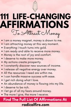 Attracting money, abundance, and wealth can sometimes be overwhelming. How to reach your financial goals easily? Can I be financially independent? These are some questions we often asked ourselves and when we affirm it, we run into some negative ideas. The internet is full of people insisting that they have never gotten the results they hoped for even though they have been using affirmations faithfully for a very long time. But it works! Check out these affirmations that can help you. Money Hacks, Money Tips, Money Saving Tips, Financial Peace, Financial Goals, Positive Words, Positive Mindset, Self Development, Personal Development
