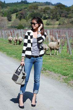Striped Blazer Cuffed Skinny Jeans Napa Outfit