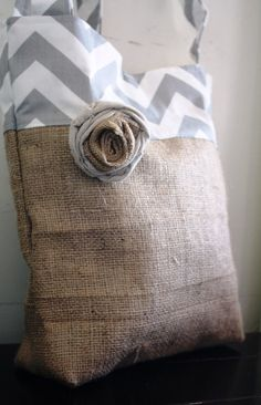 Still time to have it shipped for Christmas! Grey and White Chevron with Burlap Market Tote by simplifyme, $35.00
