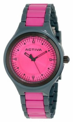 Activa By Invicta Women s AA201-017 Hot Pink Dial Charcoal Grey and Dark Pink  Pink 23f662f06b