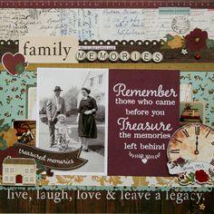 LOVE this heritage page! Family Memories **Simple Stories DT** by antenucci Heritage Scrapbook Pages, Vintage Scrapbook, Scrapbook Page Layouts, Scrapbooking Ideas, Handmade Scrapbook, Digital Scrapbooking, Family Tree Book, Family History Book, Book Tree