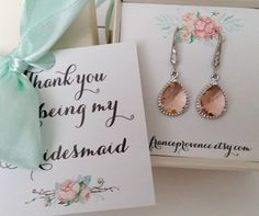 Bridesmaid jewelry set of 4 peach champagne earrings Bridesmaid jewelry Bridesmaid Gift Peach Champagne Silver Earrings by FranceProvence #TrendingEtsy