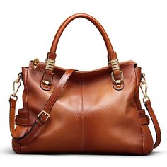 BIG SALE-AINIMOER Womens Genuine Leather Vintage Tote Shoulder Bag  Top-handle Crossbody Handbags e14d2ba24ba09