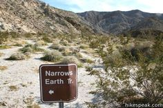 Narrows Earth Trail: description, photos, GPS map, and directions for this self-guided hike exploring the geology of Anza-Borrego Desert State Park
