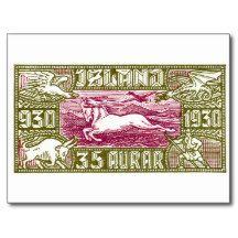 Antique 1930 Iceland Airmail Pony Postage Stamp Postcards. iceland, icelandic pony, icelandic horse, antique stamp, 1930 postage, mythology, dragon, viking, vintage ephemera, philately, airmail
