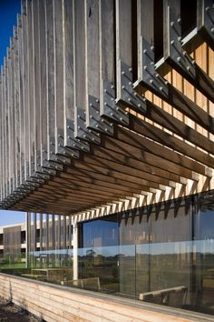 Moonah Links Lodges - Exposed timber weathering to echo the local Moonah trees - Architizer Wood Arch, Retreat House, Amazing Buildings, Facade Design, Facade Architecture, Cladding, Lodges, Pergola, Stairs