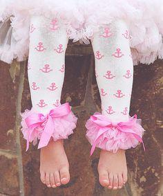Look at this #zulilyfind! Pink & White Anchor Ruffle Leg Warmers by Head over Heels #zulilyfinds