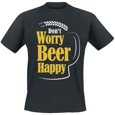 "Classica T-Shirt uomo nera ""Don't Worry Beer Happy"" del brand Goodie Two Sleeves."
