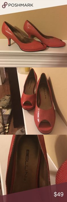"Bellini- New, never worn! The color is between red and pink, heel is app. 3"" (measured from ground to contact with heel). Bellini Shoes Heels"