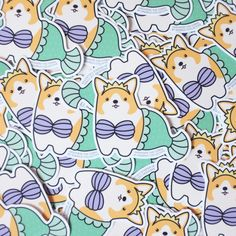 This limited edition sticker features Sneakers the Corgi as a MerCorg (a corgi mermaid), complete with purple shell bra. Put it on your laptop, your notebook, your phone, or your face. Just kidding ab