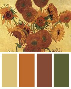 Color Palette inspired by Vincent van Gogh's Vase with Fifteen Sunflowers
