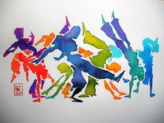 Encres : Capoeira - 238 [ #capoeira #watercolor #illustration ]