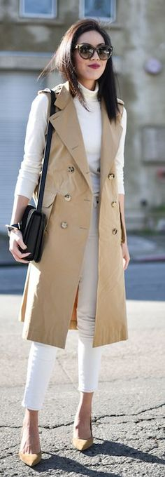 Beige Sleeveless Trench by 9to5 Chic