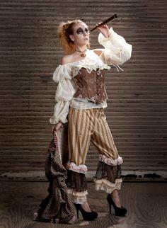 Steampunk airship pirate pantaloon bustle outfit. $230.00, via Etsy.