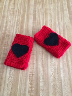 Girls Red Fingerless Gloves in Red with by AllThingsUniqueShop