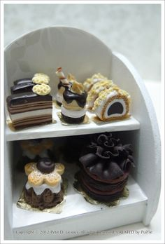 petit d'licious   Assorted classic chocolate pastries on 2-Tier Display Rack
