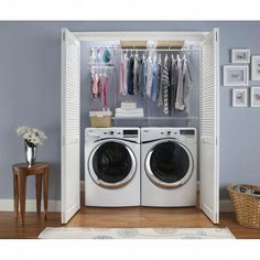 Laundry Room Organization, Laundry Room Design, Laundry Storage, Small Laundry Space, Basement Laundry Area, Small Laundry Closet, Laundry Closet Makeover, Laundry Cupboard, Utility Cupboard