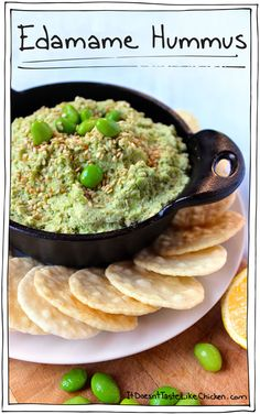 Edamame Hummus! A hit of ginger, soy sauce, and sesame, combined with the zing of lemon and the nutty creaminess of the edamame. Glee. You grin with pleasure just as a very attractive person of interest arrives at the snack bar. Your oscar the grouch teeth doesn't turn them off, in fact they join in on the fun. Edamame Hummus for everyone. This experience can be yours too! (No attractive person of interest guaranteed). #itdoesnttastelikechicken