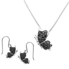 Black Half Butterfly Pave CZ Necklace & Earrings Sterling Silver Set