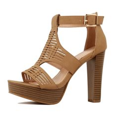 a5793a26facc Guilty Shoes Womens Cutout Gladiator Ankle Strap Platform Block Heel  Stiletto SandalsHeeled Sandals