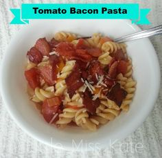 Easy Pasta Dinner - Tomato Bacon Pasta Recipe - Little Miss Kate Pasta Recipes Easy To Make, Bacon Pasta Recipes, Easy Pasta Dishes, How To Cook Pasta, Healthy Dinner Recipes, Cheap Family Dinners, Bacon Waffles, Little Miss, I Love Food