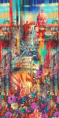Wanderlust - About Rome Border - Multi - DIGITAL PRINT: fun to cut up for landscape quilting bits! Flower Backgrounds, Wallpaper Backgrounds, Frozen Wallpaper, Illustrations, Textile Prints, Fractal Art, Cute Wallpapers, Printing On Fabric, Rome
