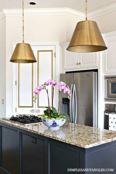 Pendant light Light fixture Ceiling Light Lampshade Countertop Room Home Kitchen Lighting Brass Kitchen, Kitchen Pendants, Kitchen Fixtures, Farmhouse Kitchen Decor, Diy Kitchen, Kitchen Ideas, Island Pendant Lights, Brass Pendant Light, Pendant Lighting