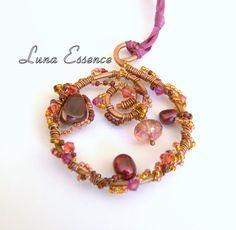 Dream Weaver Burgundy Pomegranate Moukaite Pendant by LunaEssence, $32.00