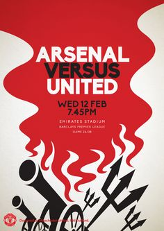 Match poster. Arsenal vs Manchester United, 12 February 2014. Designed by @manutd.