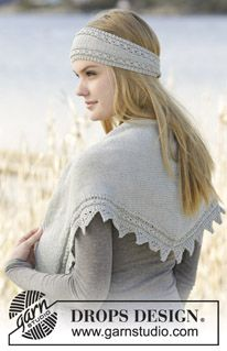 """Just Glisten - Set consists of: Knitted DROPS shawl and head band in garter st with small cables and lace pattern in """"Cotton Merino"""". - Free pattern by DROPS Design"""
