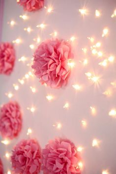 DIY: The backdrop is made by using an art canvas and poking holes through the canvas with a sharpened nail. Push string lights through holes after deciding on the pattern you want to make. I used glue dots to keep the lights in place. Lila Party, Party Kulissen, Festa Party, Party Ideas, Pom Pom Flowers, Tissue Pom Poms, Paper Flowers, Tissue Flowers, Tissue Paper