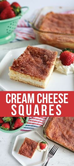 A super simple dessert but oh so good- Sopapilla Cream Cheese Squares. Make these using crescent rolls and an easy cream cheese filling.