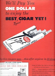 June 19, 1965    Phillies Tips Cigar      ad  (#1875)