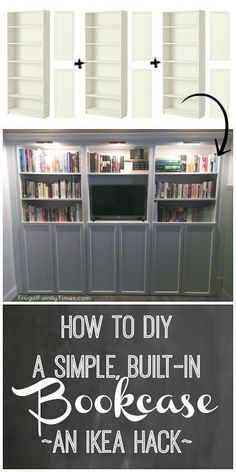A DIY IKEA built in bookcase is an affordable and quite simple to build. Here is our step-by-step tutorial for how to make wall-to-wall bookshelves using whiteIKEA Billy bookcases. We used the Oxberg doors for hidden storage underneath. Also brass library Wall Bookshelves, Diy Furniture, Bookshelves Diy, Ikea Hack, Diy Home Decor, Bookcase, Ikea Bookshelves, Ikea Billy Bookcase, Ikea Built In