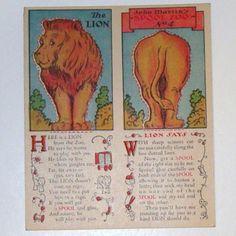 Vtg 1931 Clark's Ont J P Coats The Lion John Martin's Spool Zoo Trade Card
