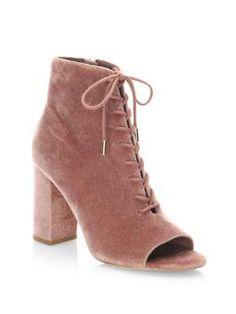 JOIE Lakia Lace-Up Velvet Ankle Boots. #joie #shoes #