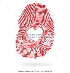Vector heart icon, trace, fingerprint valentine romantic. Finger print design element. by Sweet Lana, via ShutterStock